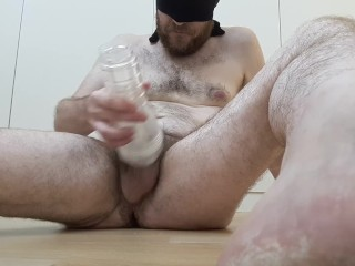 My cum in my ass - guy fucks his ass with cum on dildo from fleshlight shot
