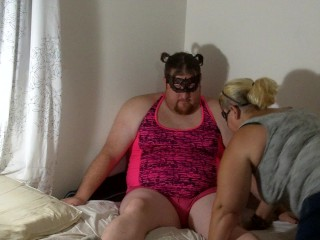 Feminized sissy self facial with wedgie, spanking, and cum swallowing