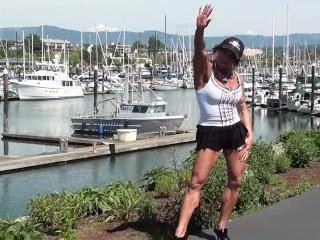 Public Pole Dancing At The Bayside Marina Photoshoot With FBB Model Latia