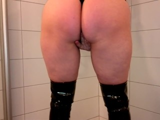 Piss panty for slave and stuffing in pussy