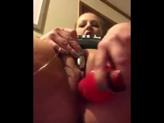 fucking my pussy with a dildo and using a vibrator on my clit till I cum