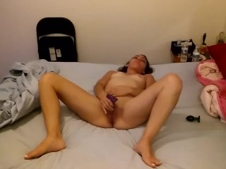 skinny princess slut plays with toys for daddy