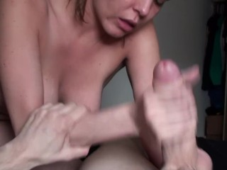 Long Slow Blowjob And Pussy Rubbing, Busty Thin GF Swallows Cum At The End!
