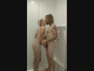 Hot blonde Sterling sucks and fucks in shower