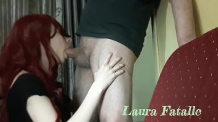 French redhead milf gets big facial after blowjob – Laura Fatalle