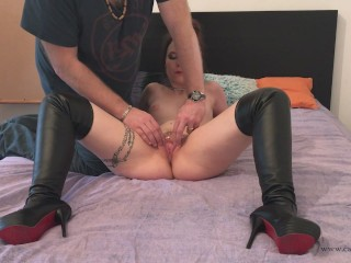 Cathy Crown Belgium Porn Star - Hard submissive double fucking and creampie