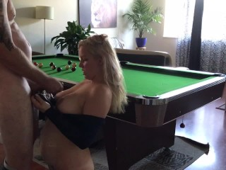 Blond loses in pool but still sinks balls