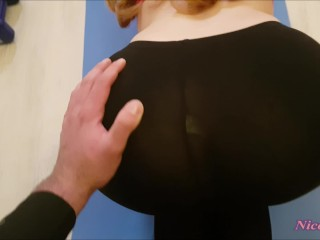 Teen get fucked in ripped yoga pants and Big cum load on her pussy