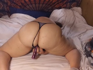 Determined BBW bitch Begs to your shaft and smashes vagina with toy. chubby slut.
