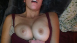 Huge Load on Asian Tits after her Orgasm and Playing with Big Natural Boobs