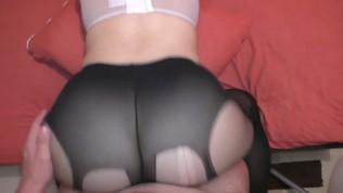 Amateur Teen in Nylon Pantyhose Amazing Fuck Big Ass