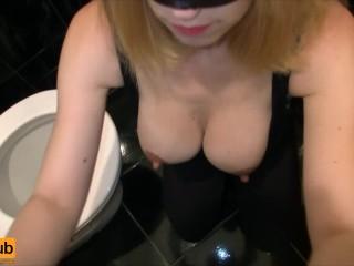 Blonde sucks cock in toilet - Close up cum in mouth, Amateur Blowjob POV