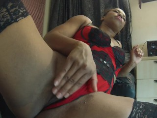 Watch my roasting hot black whore twat get pounded in red lingerie