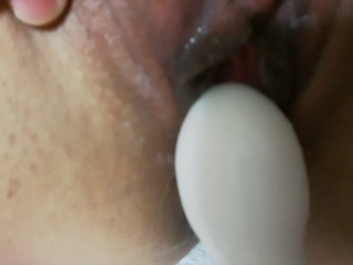 Japanese chick fucks herself to orgasm with the help of a white man