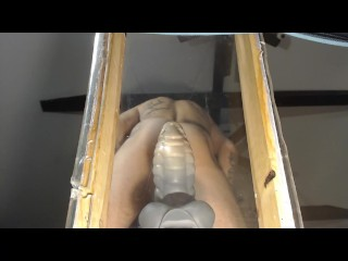 Making Sexy hole drip over glass table top from XL Bad Dragon & fun toys