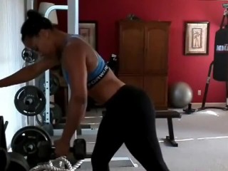 Hot ebony post workout pussy play and squirting