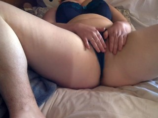 Curvy slut holds the moan with a guest in the next room!