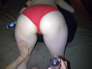 Oily Red Panty Massage Orgasm - Teasing Big Ass Hips and Pussy in Panties