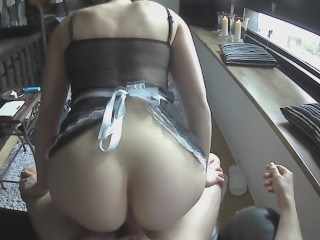 Maid finds painal assfuck and using for pussy filling