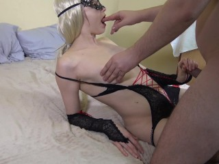 Anal destruction and hot blowjob for my boyfriend with cumshot on my ass
