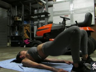 Tattooed Slut Chantelle Fox fucked while working out in garage
