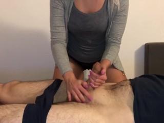 German babe fingering pussy while cumshot - massage penis