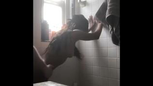 Petite Ebony Teen Takes Massive Cumshot In Shower