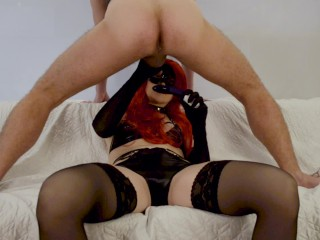 Latex mistress does prostate massage and blowjob Cock Milking, cum in mouth