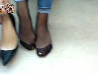 Handjoy* POV Shoejob, nylon footjob and cum in shoe * request by fafe88