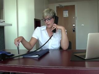 SEXY SECRETARY BROOKS RIDES DILDO IN OFFICE XXX