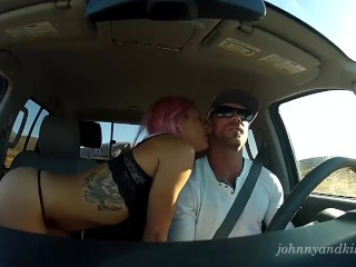 Hot Pink Haired Girl Gives RoadHead, Gets Fucked and Creampied in Truck!
