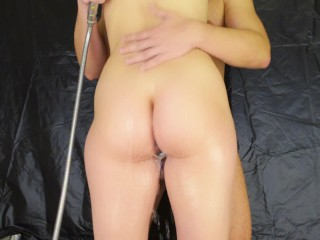 Without penetration in the shower - pussyjob legjob handjob with anal plug