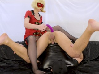 Blonde milf prostate milking with strapon, femdom foot worship and cum play