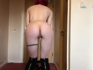 Pale, Red Head Teen Sucks Dick While Fucking Her Dildo (Creampie)