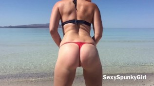 Mexico Public Beach Blow Job Cum on My Tits with SexySpunkyGirl