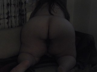 BBW pawg getting dildo fucked until she squirts in las vegas