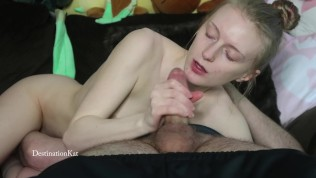 DestinationKat Sucks Cock and Makes Him Cum in Her Panties