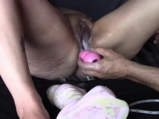 hot pussy fucked with big kong toys fisted and squirts with ass play