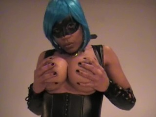 Raven Swallowz Blue Haired Cosplay Porn Star Teasing with Big Tits & Pussy