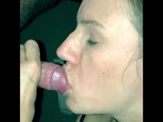 Milf wife gives great blow job and plays with cum.