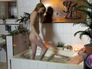 Melody and Cheffie take a bath after all the hard work