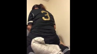 Soccer girl is so horny that she humps pillow (no dick but I can still cum)