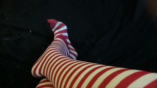 Striped Stockings Self Massage Sockplay Sock Strip Foot Fetish Sock Fetish