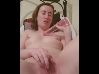 Teen sucks dildo, fucks dildo to orgasm then sucks dildo clean
