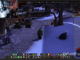 World of Warcraft Gamer Girl Does Her Best to Heal while Cumming