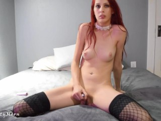Beautiful goth red head in skimpy lingerie strips along with masturbates