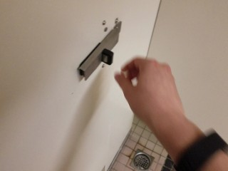 Young Stud Cums All Over Public Restroom