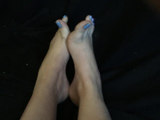 Sexy Flexible Teen Feet w High Arches Tease with Blue Toenails Foot Fetish