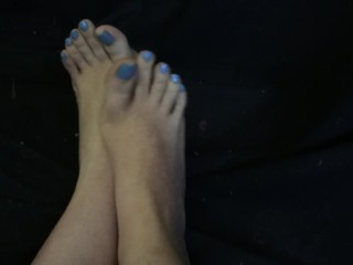 The Adult Video Experience Presents Sexy Flexible Teen Feet w High Arches Tease with Blue Toenails Foot Fetish