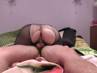Amateur Teen StepSister Fucks in Black Pantyhose